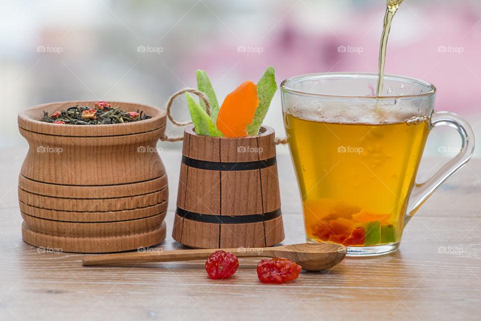 Cup of green tea vegetables