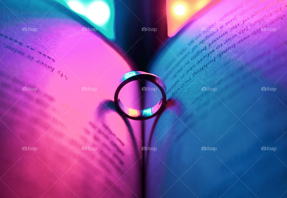 Experimenting with shadows 101: One ring can produce two more rings if you set the lights properly! Here's to my wedding ring and the wedding book.