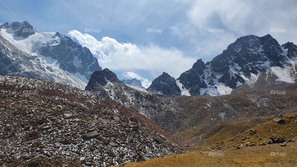 Almaty mountain peaks and glacier