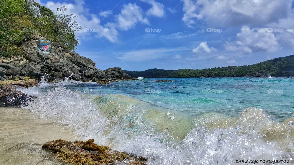 Waves at rocky coastline