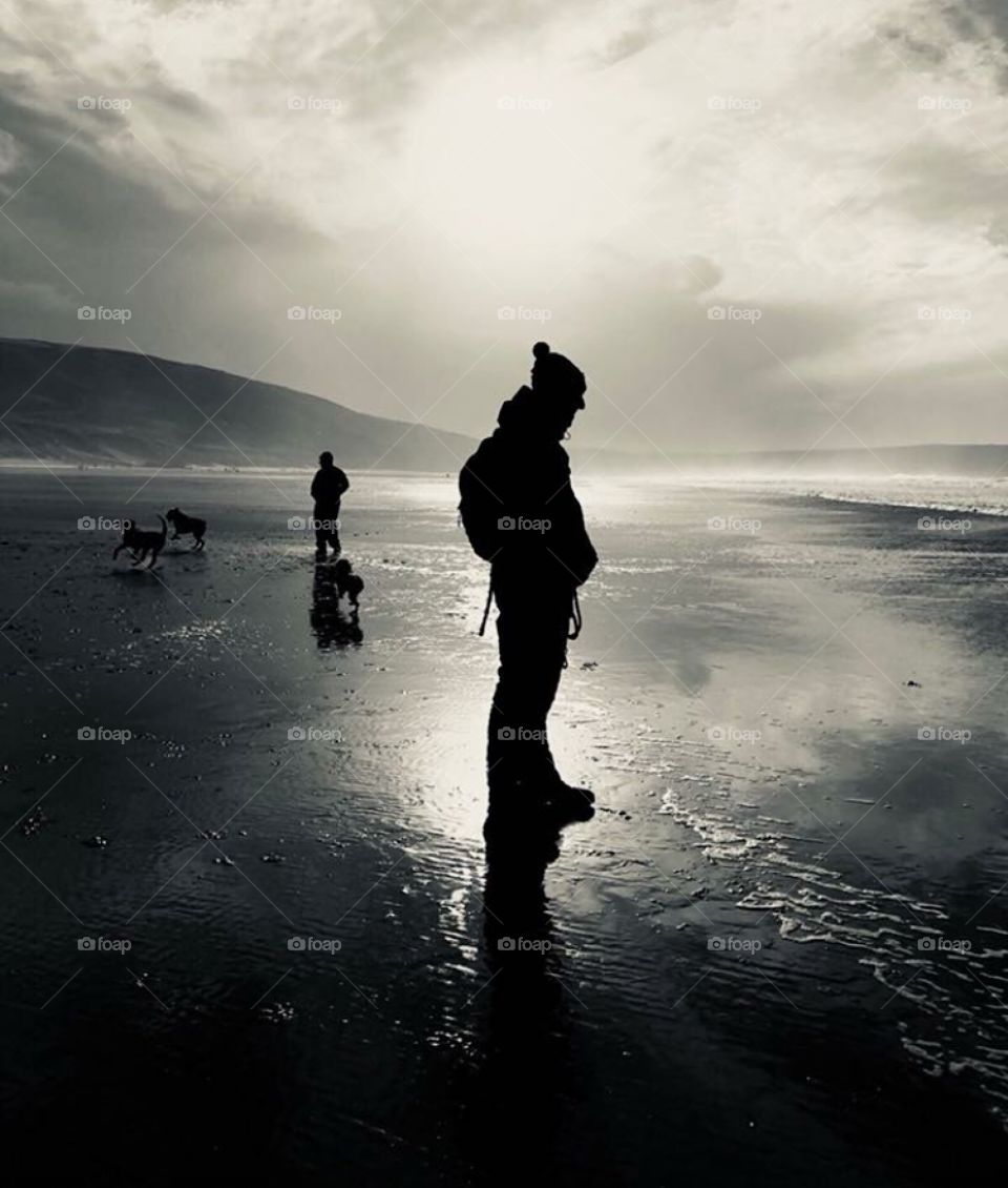 Southern coast contrast close up of a man, woman and two dogs in the winter at the beach