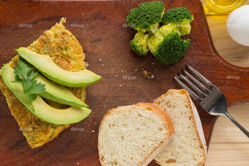 Healthy breakfast on chopping board