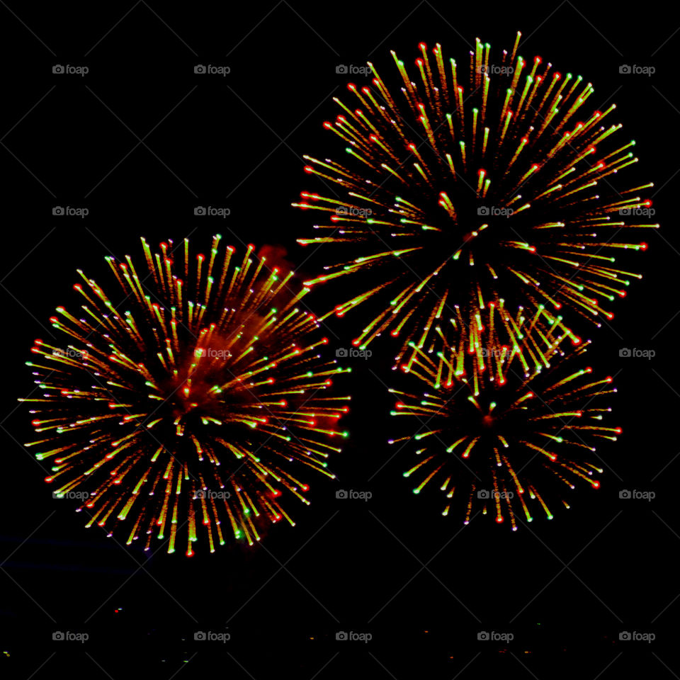Here, over the Gulf of Mexico, a barrage of missiles designed to explode in a controlled way explode with brilliant red, orange, yellow, green, blue and purple colors! Thousands of people across the United States will be celebrating Independence Day on July 4th by  attending firework displays!