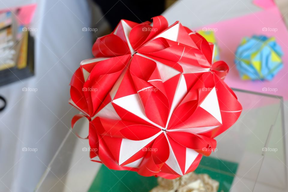 Origami red and white flower