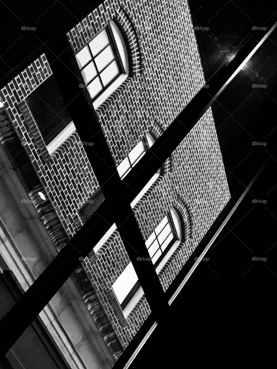 Bricks, windows and lines in black and white