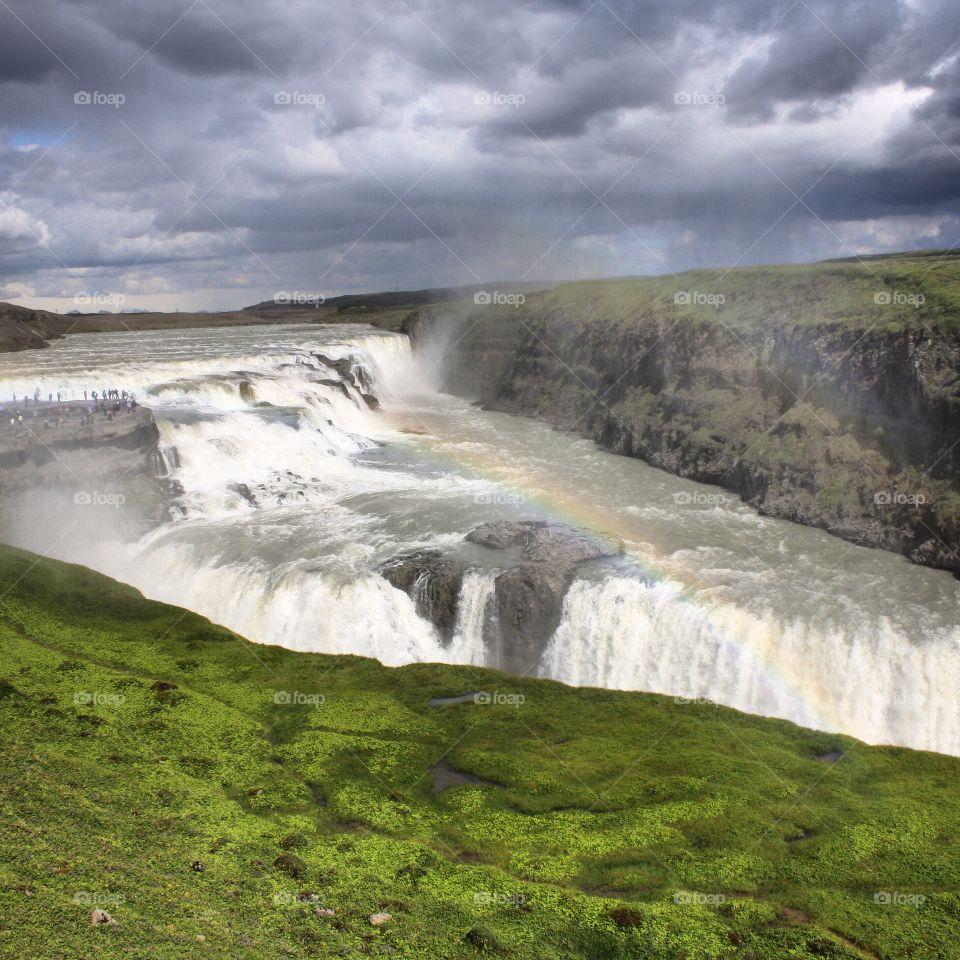 Gulfoss Waterfall Rainbow. Photo taken of Gulfoss waterfall in Iceland summer of 2014