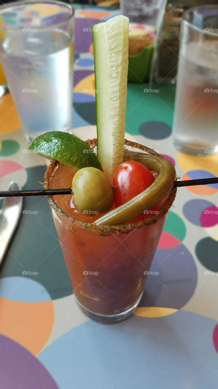 Bloody Mary cocktail with bean and cucumber