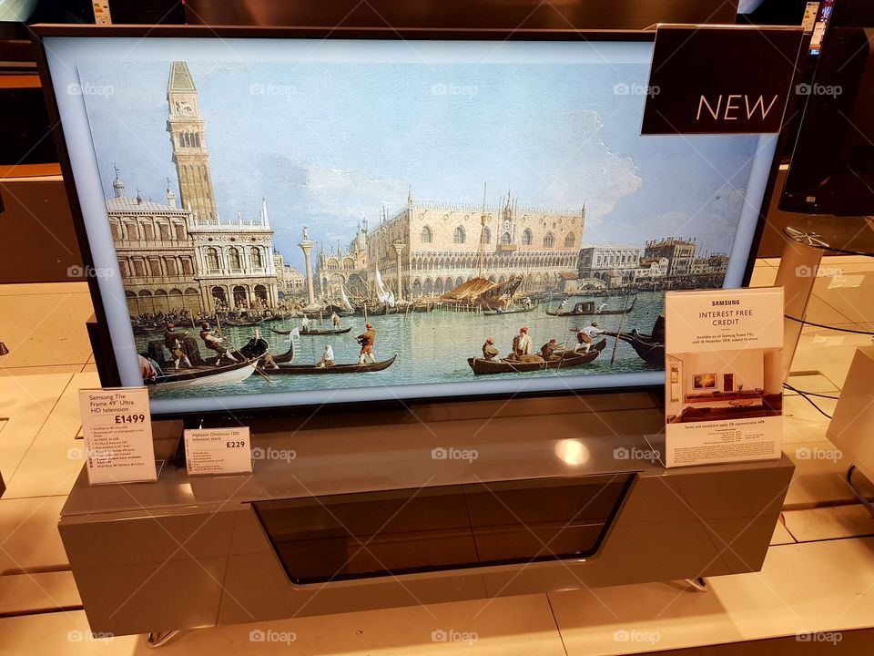 Samsung The Frame art mode TV 4K UHD TV installation displaying classical art at Peter Jones Sloane square Chelsea King's road London