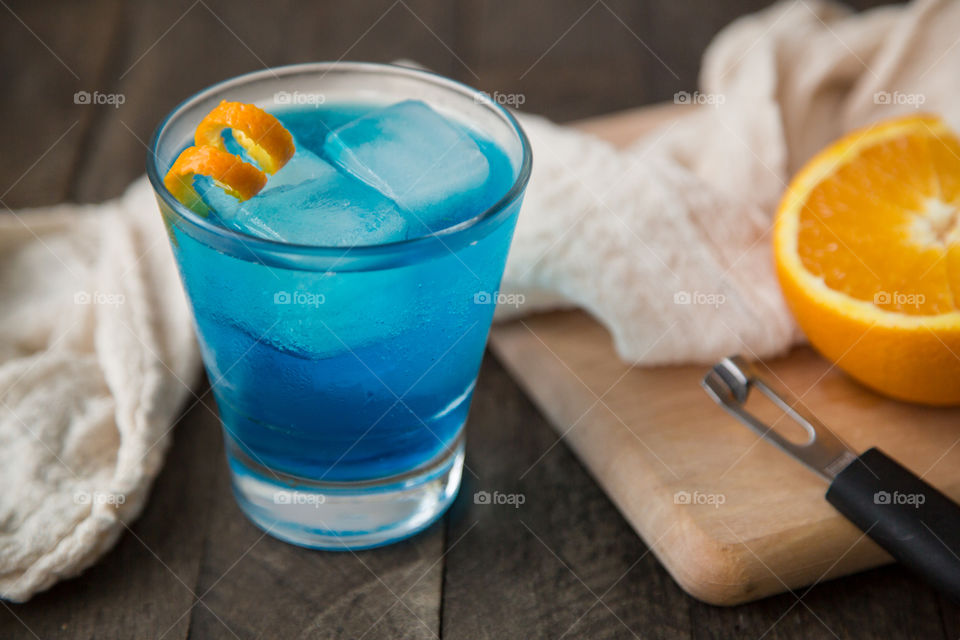 Mixed Drink - Tequila, Blue Curacao, Sour Mix, Lemon Lime Soda