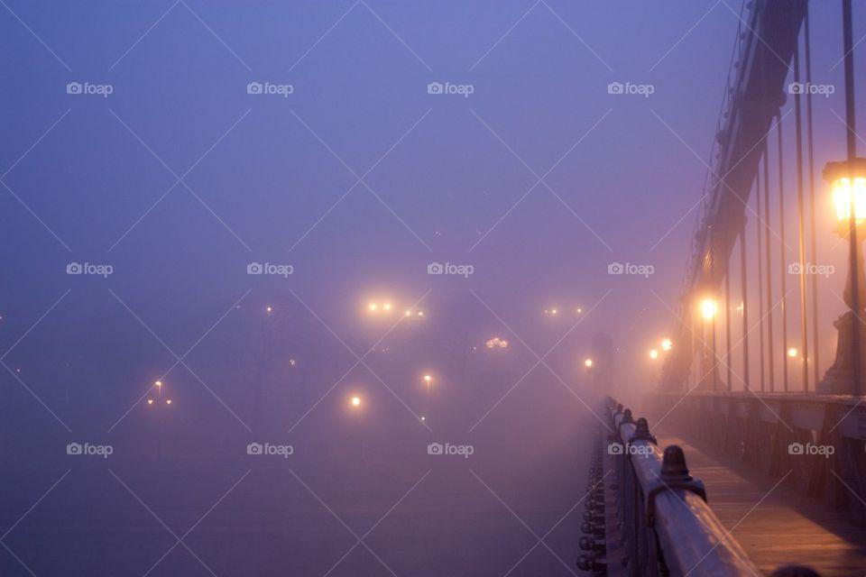 Szechenyi chain bridge in fog