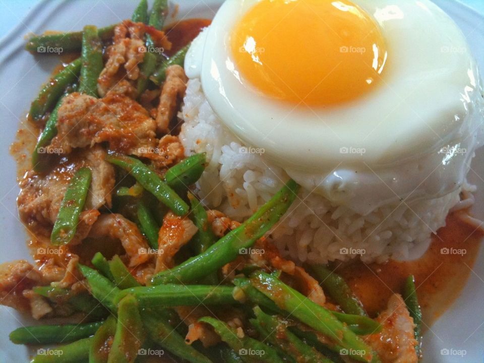 Fried chilly paste with pork and fried egg. Fried chilly paste with pork and fried egg