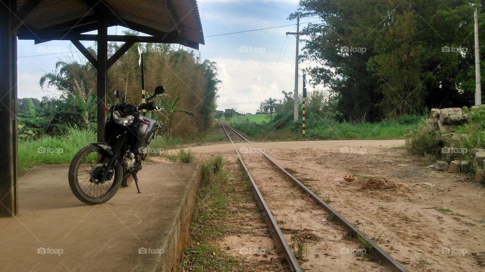 old railroad and a bike
