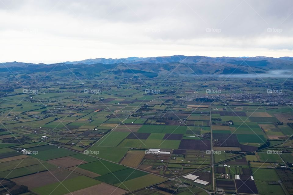 View of the Canterbury Plains when coming in for landing in Christchurch, New Zealand