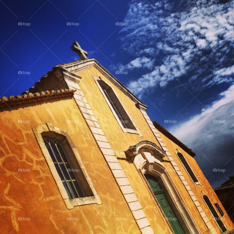 French church. Church in Roussillon, Provence