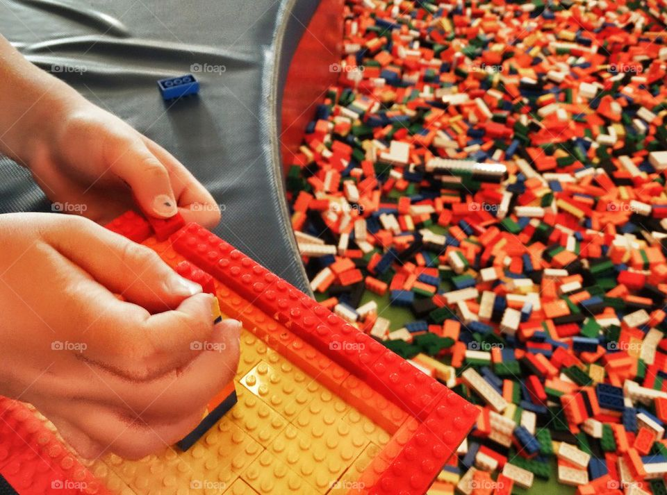 Building With Lego. Huge Collection Of Lego Bricks