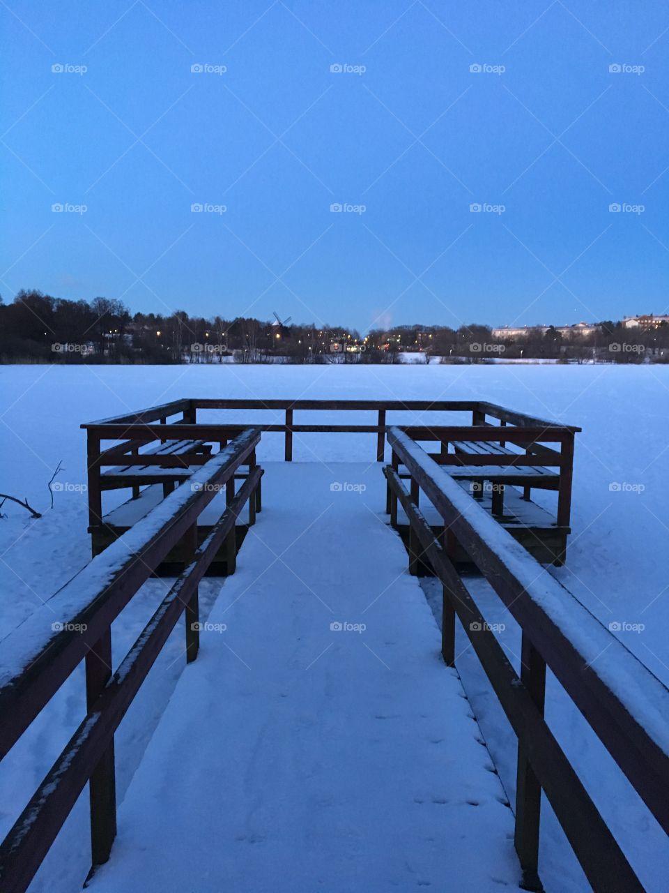 Winter dawn on pier