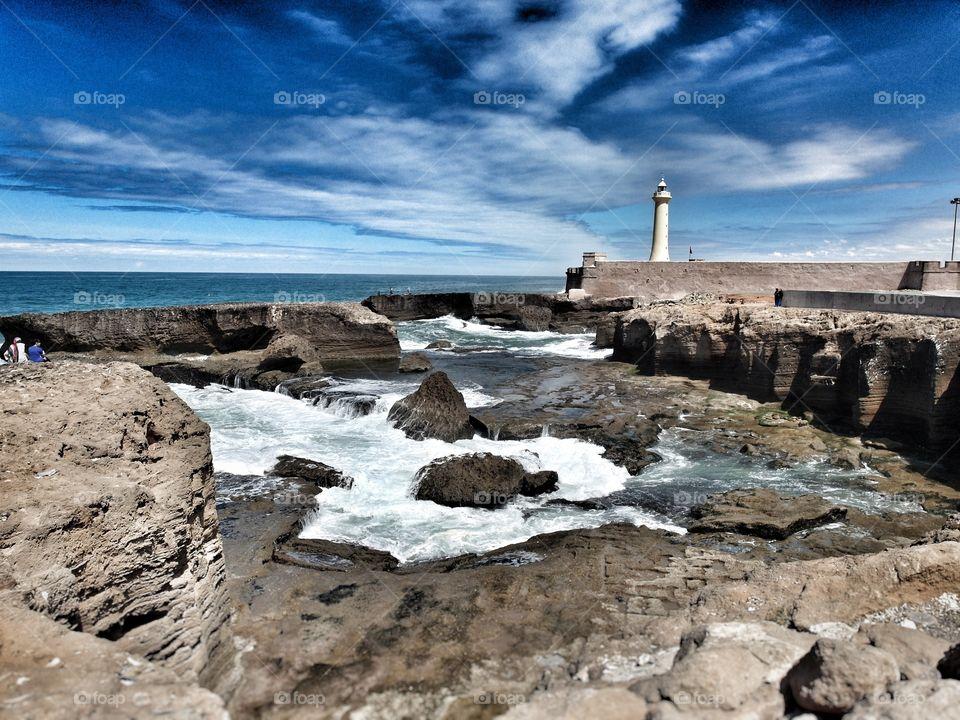 Beach and lighthouse of Rabat