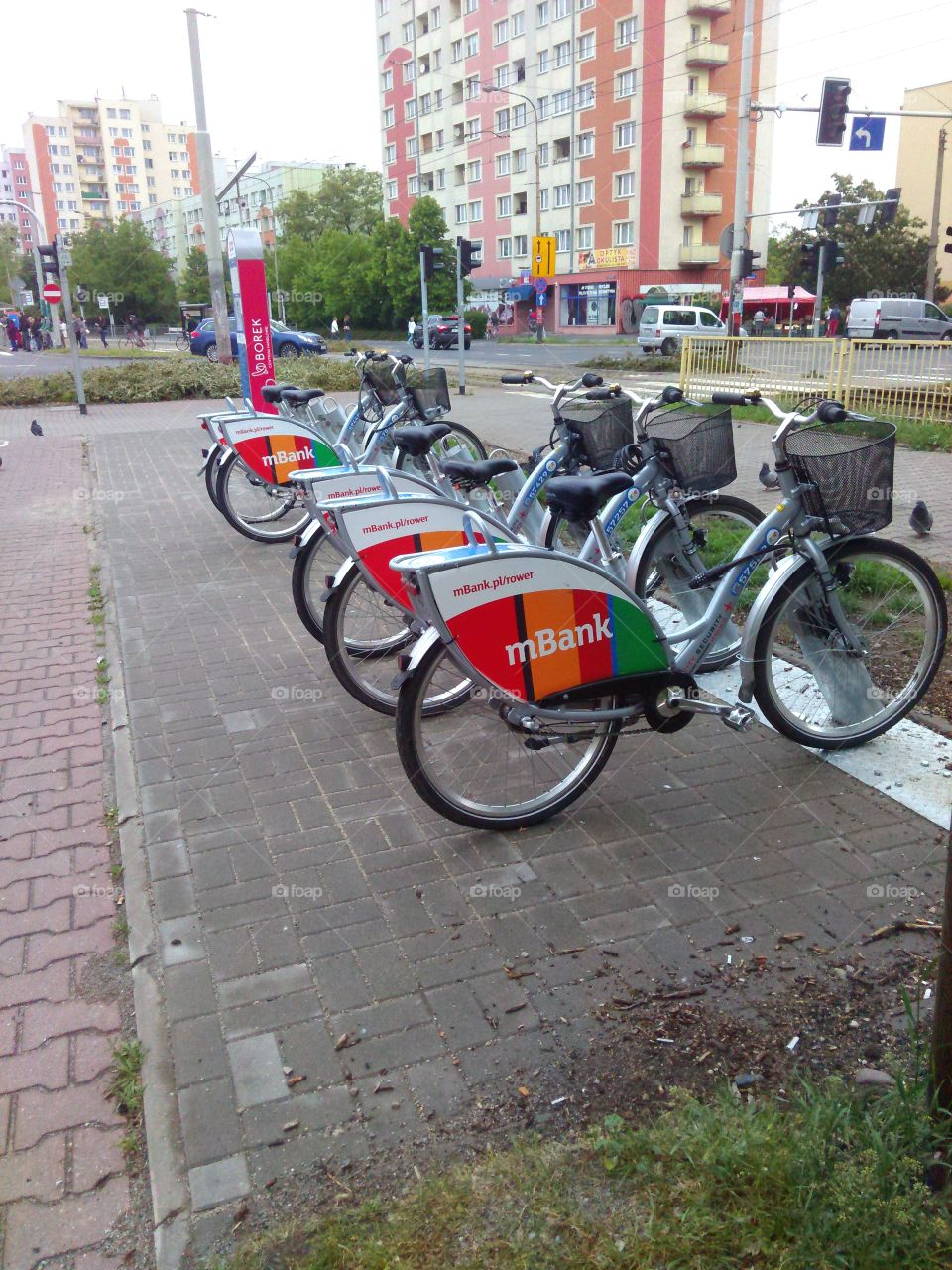 bicycles for hire. This photo has been taken in Wroclaw city