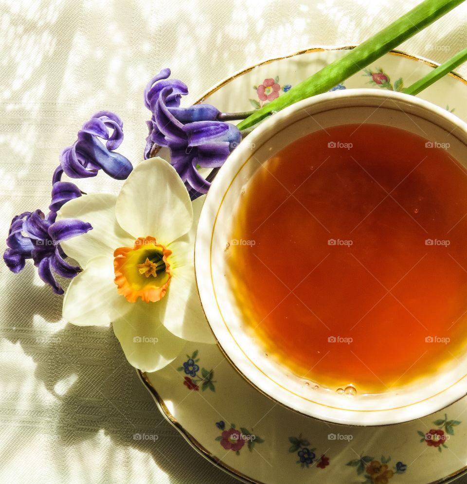 High angle view of a herb tea