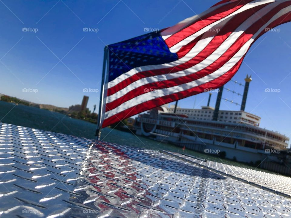 American flag caught up in the wind