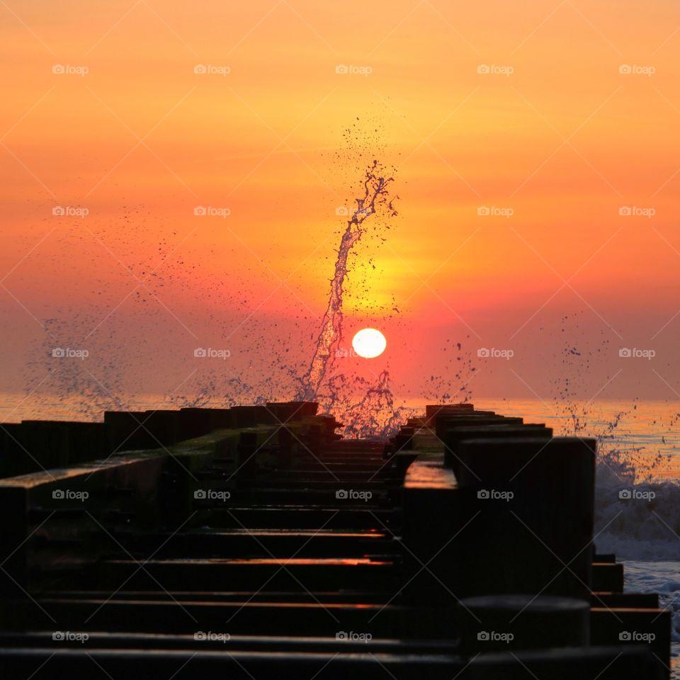 sunrise with a splash