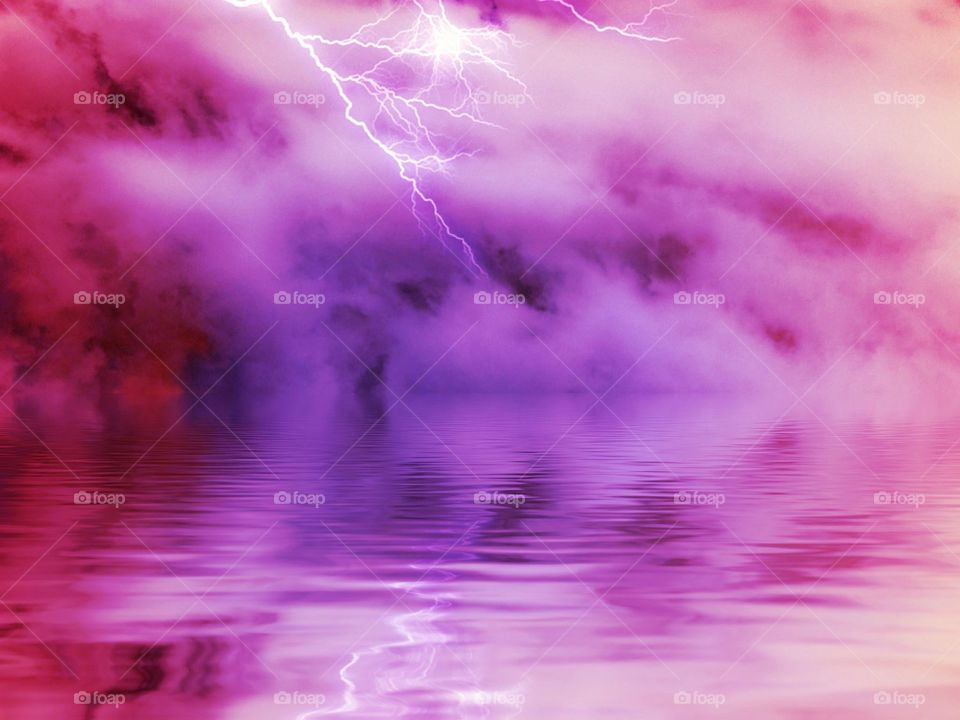 Lightning over a purple lake. Lightning over a purple lake
