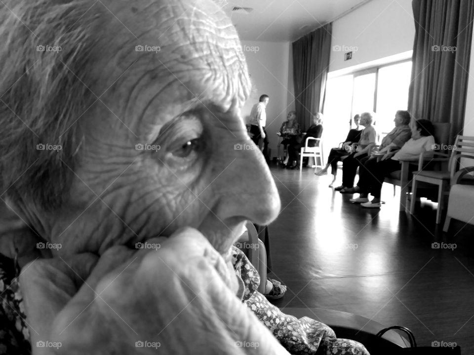 Close-up of elderly woman