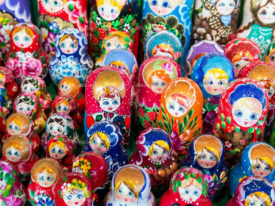 Colourful desktop of russian dolls