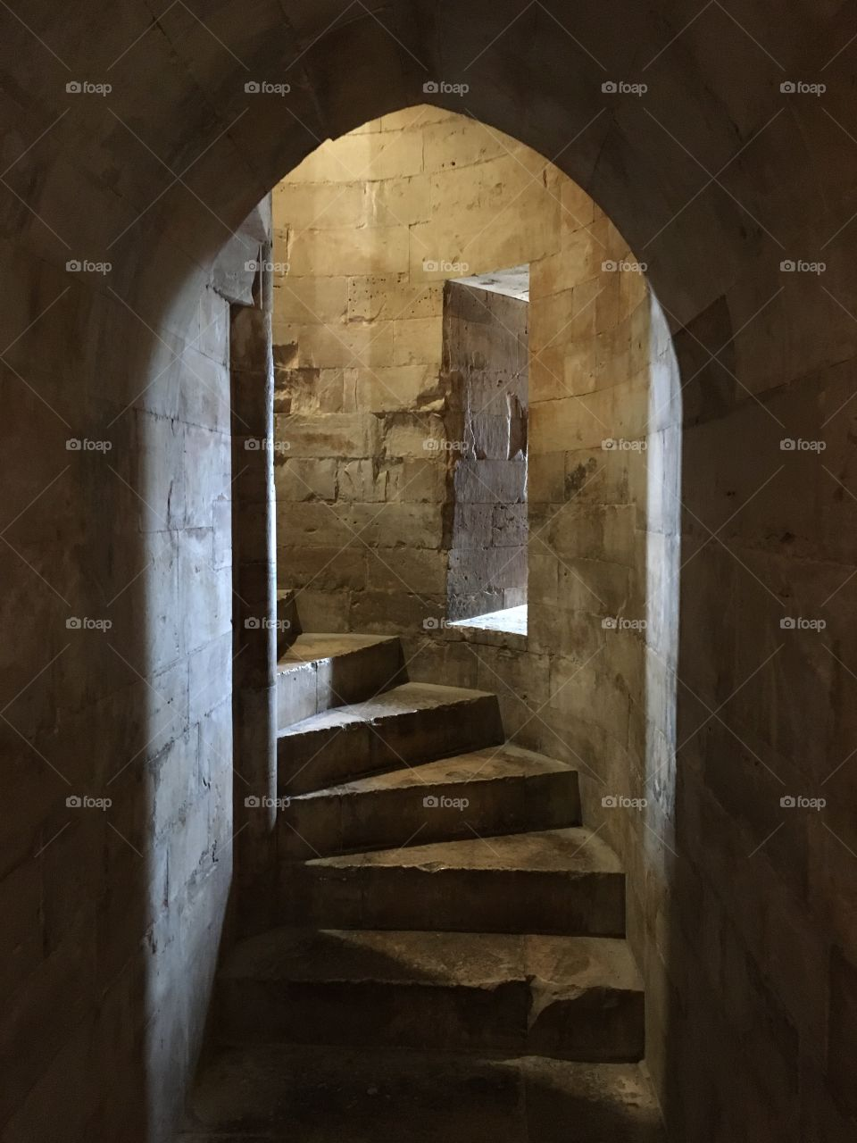 Interior stairs, Castel del Monte, Puglia, Italy