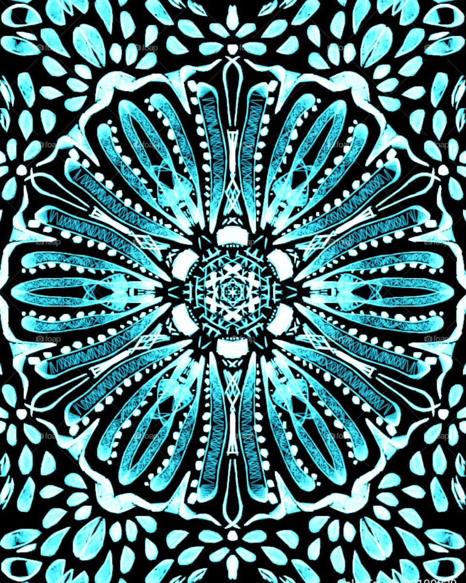 My Reflectional Glowing Sky Blue Floral Art Design Pattern. Circular type of Grid.