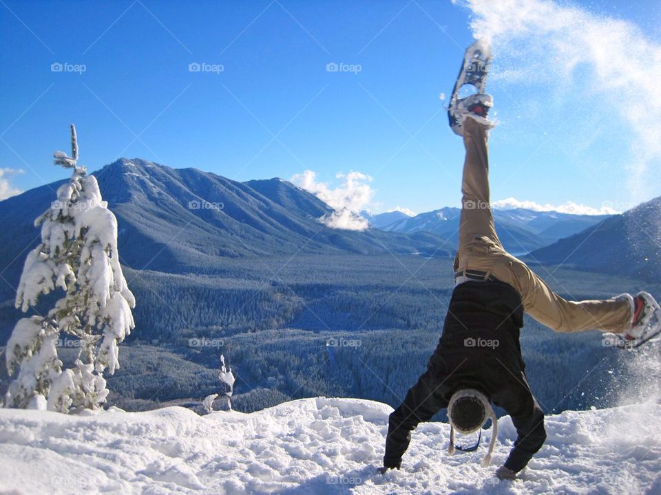 Person doing snowshoeing