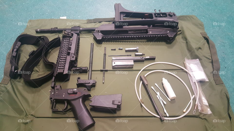 Automatic rifle g36 ready for cleaning