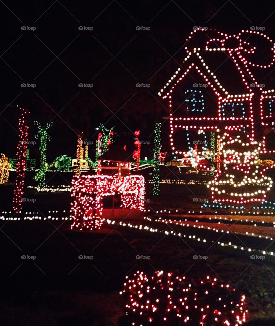 Lit up village during Christmas.