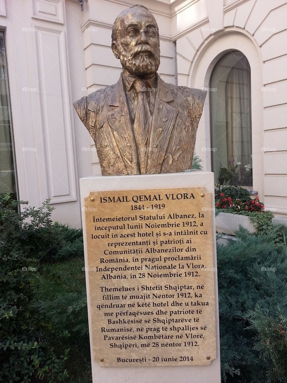 Bronze bust of Ismail Qemal Vlora,Bucharest