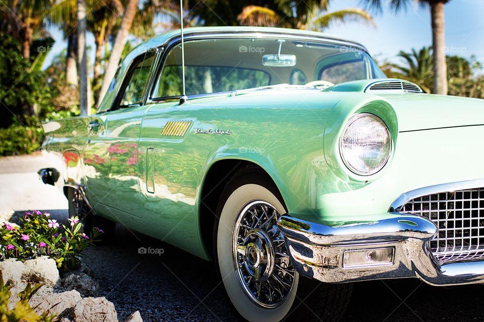 Vintage thunderbird car in tropical location. Turquoise tbird in Florida Keys