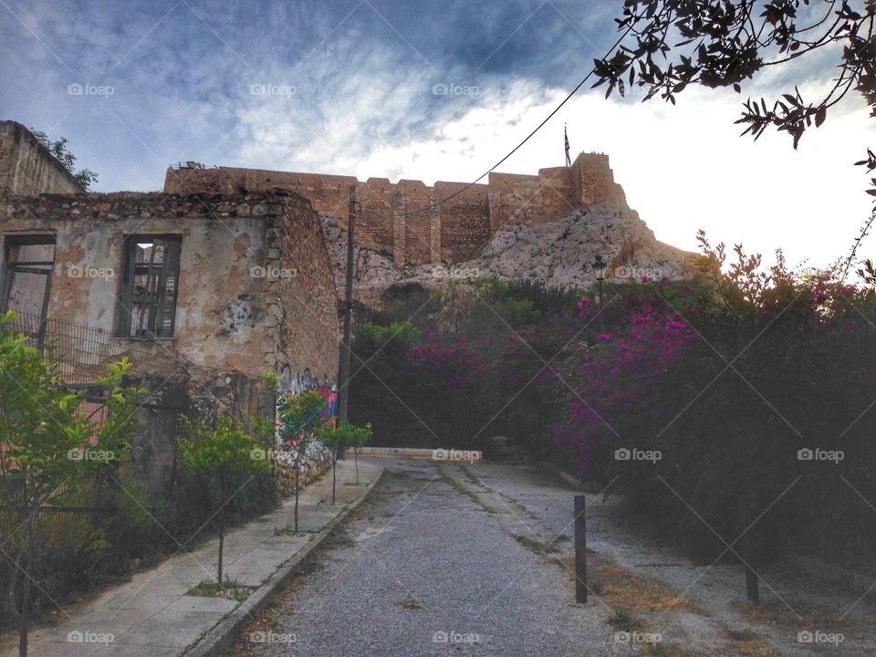 Quieter side of the Acropolis wall