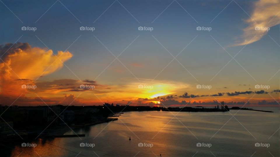 Sunset over Nassau Bahamas..View is from Royal Caribbean enchantment of the seas