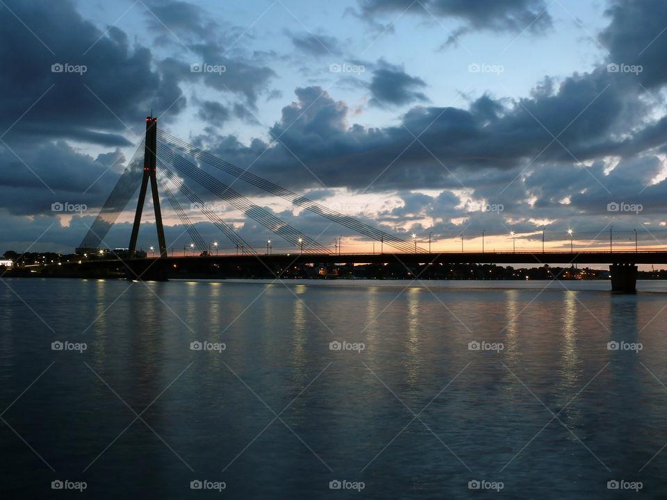 Incredible sunset in Riga, Latvia