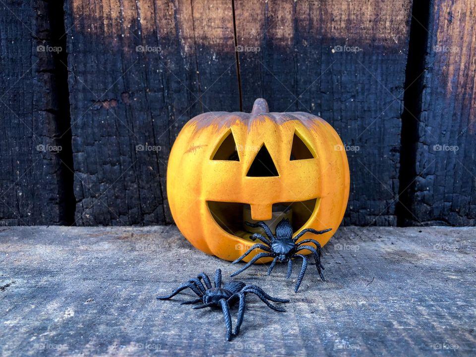 Scary pumpkin placed on rustic wooden table surrounded by big black decorative spiders