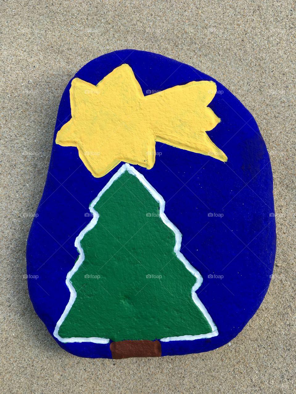 Christmas tree on a stone