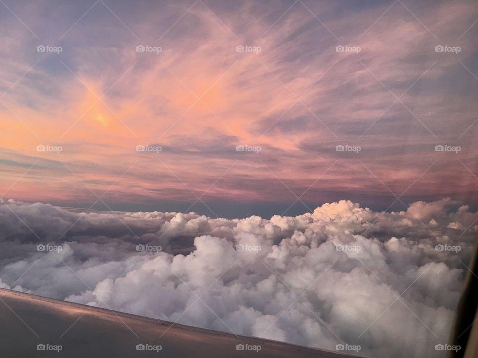 Stunning sunset viewed in flight. Dallas, Texas to Shreveport, Louisiana, October 2018.