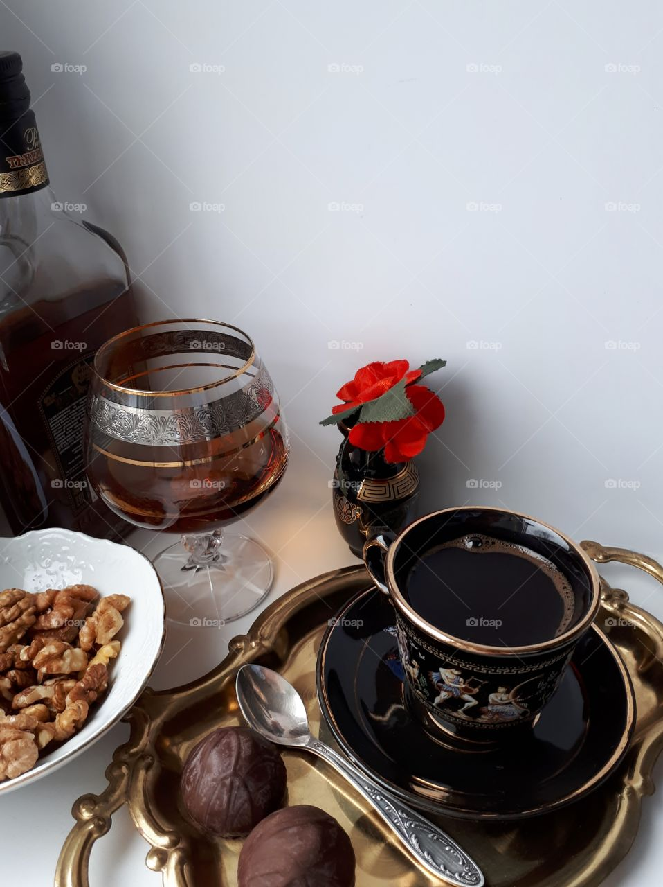 Coffee with cognac and nuts