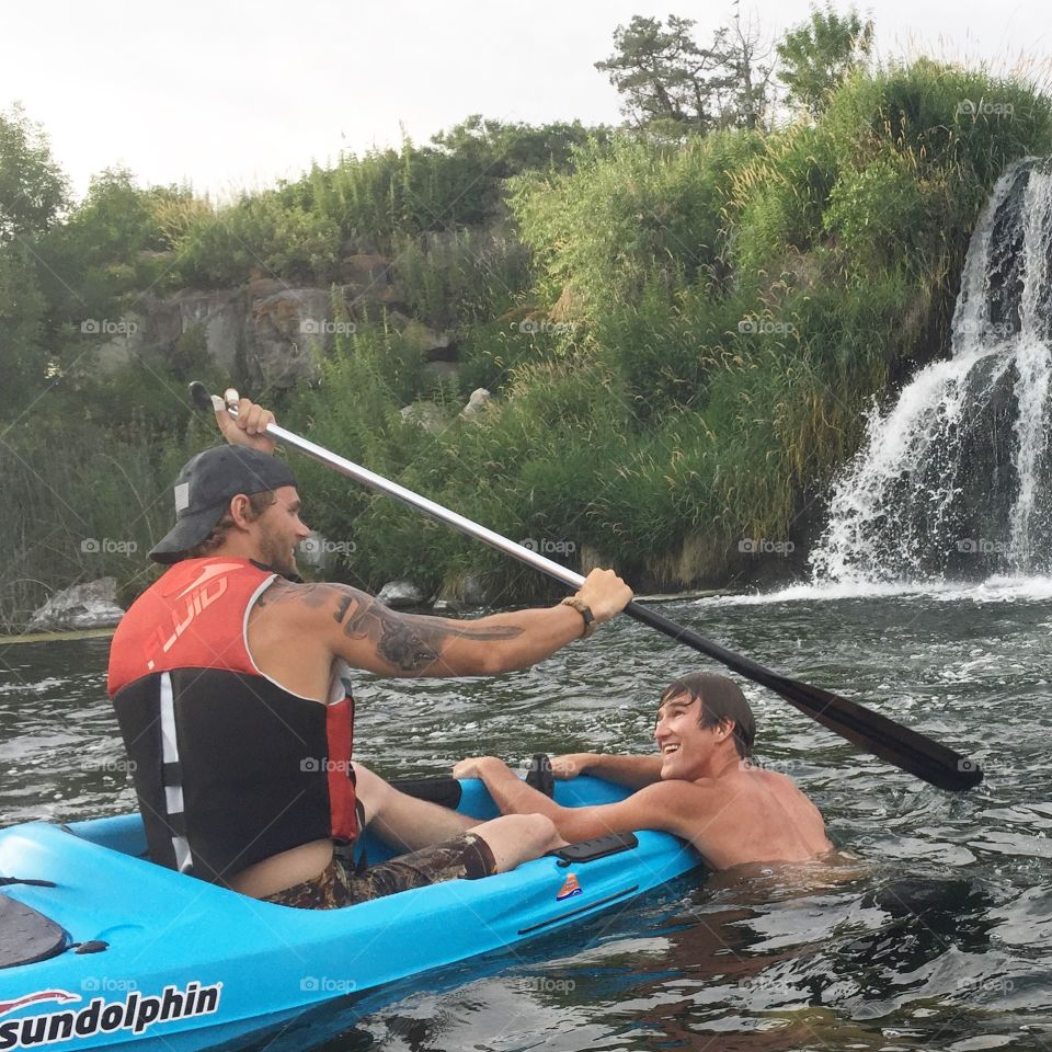 Kayaking in the amazing waters of Hagerman Idaho.  It is also called 1000 springs (because it's at one point literally had over a 1000 waterfalls of spring water pouring into the river. This year many of the waterfalls are running again due to the harsh winter we endured. Crazy winter=beautiful summer here.