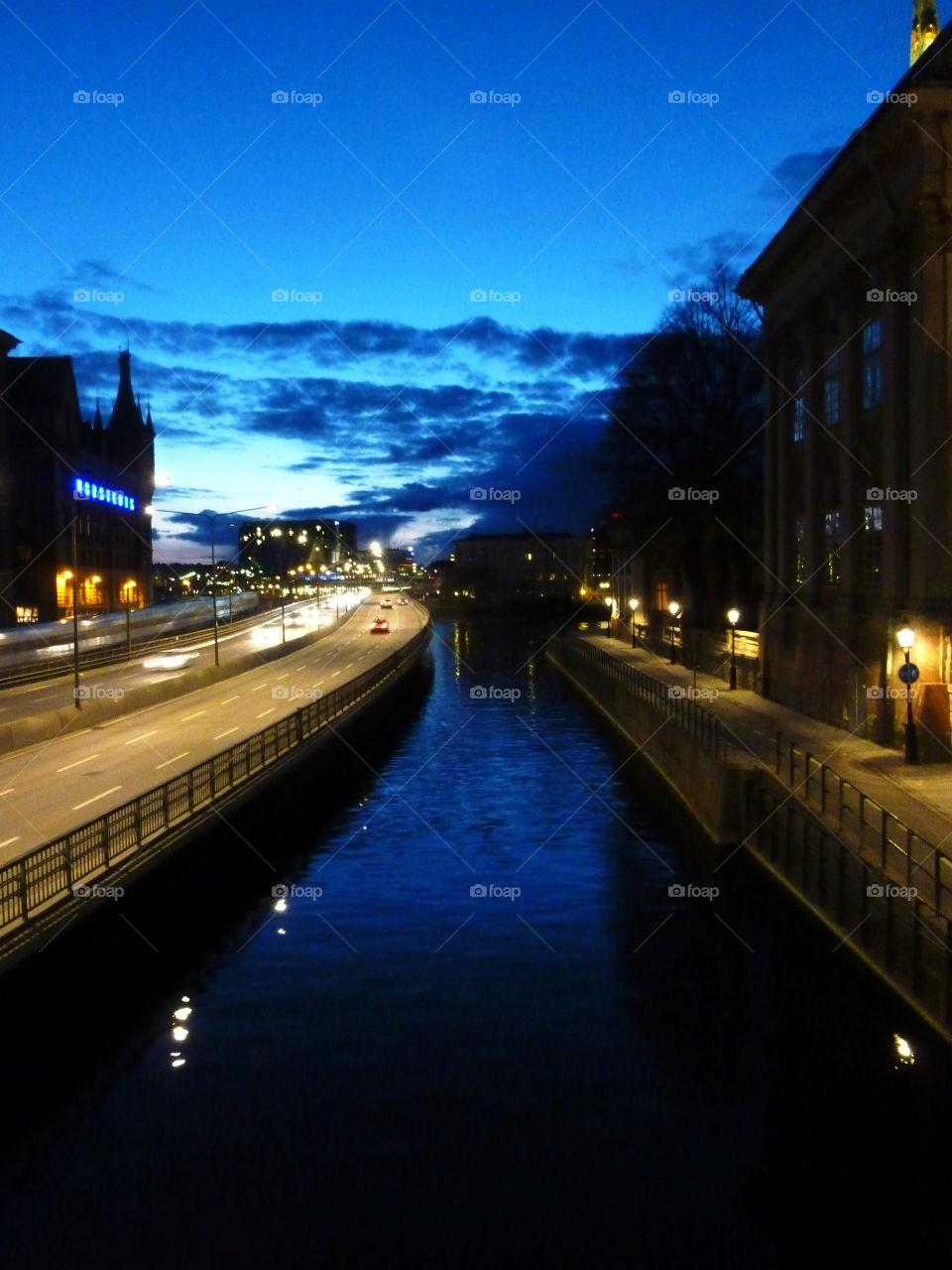 night landscape stockholm