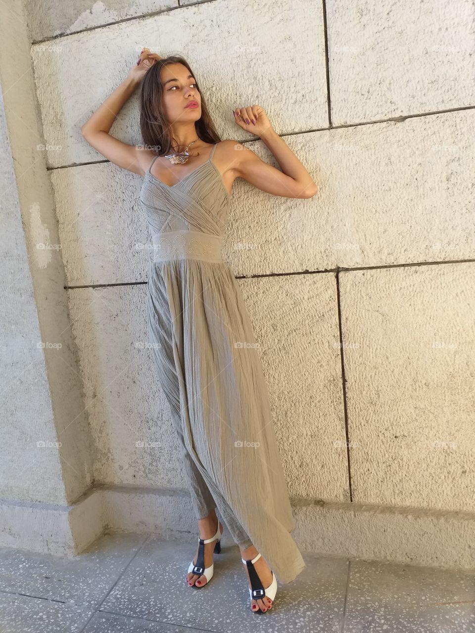 beautiful girl, model in long dress