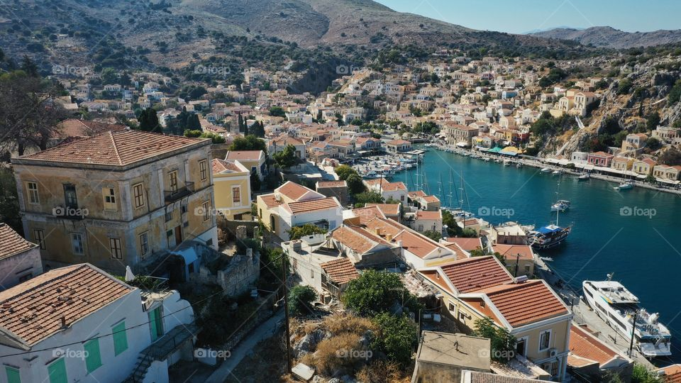 Aerial view of town on symi island
