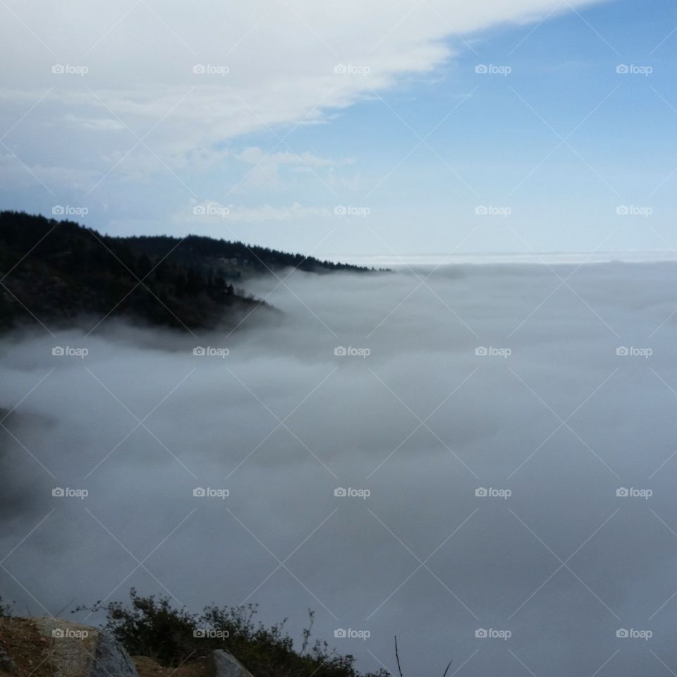Rim of the World with cloud cover. Big Bear/Lake Arrowhead, California