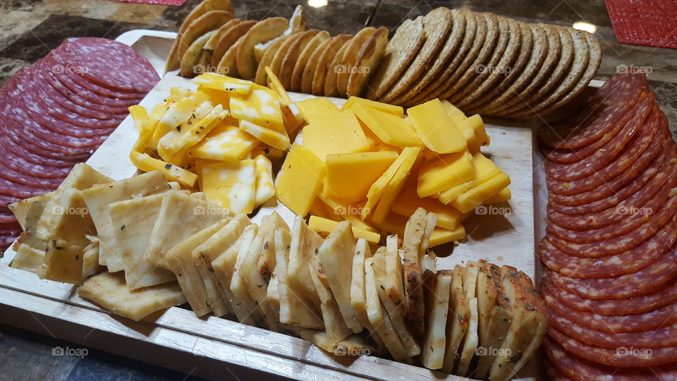 Meats, cheese and crackers