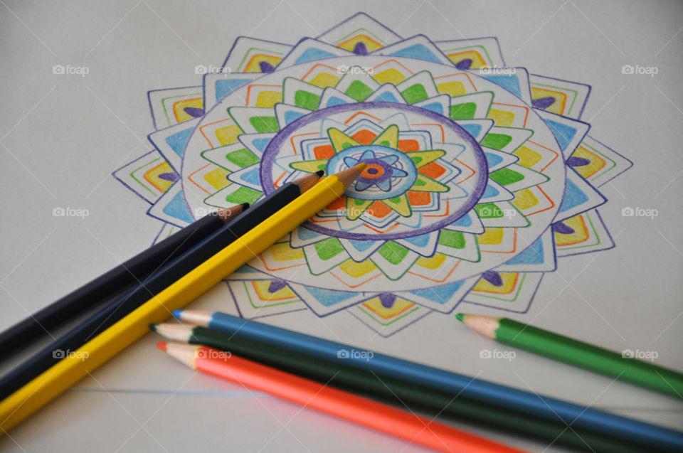 Pencils and mandala