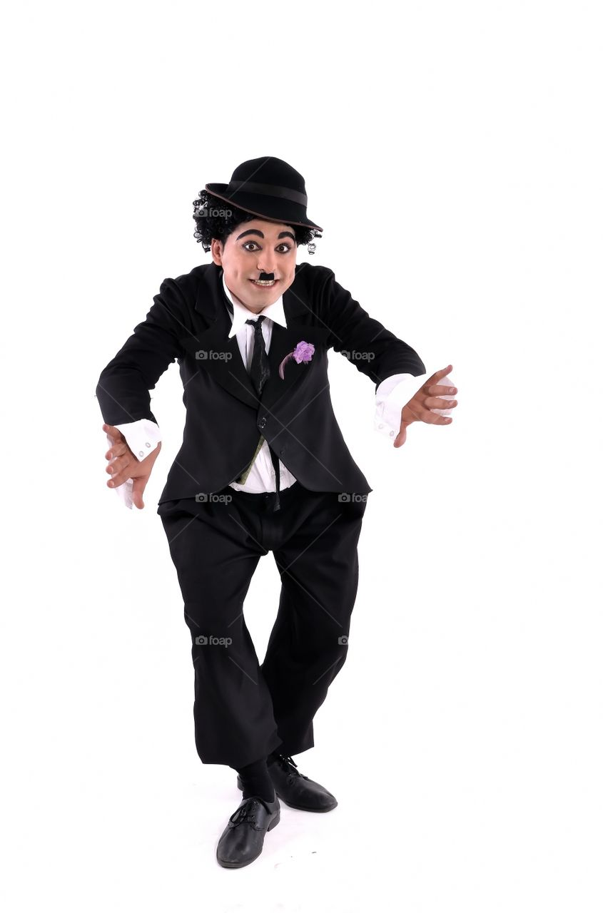 Actor presenting Charlie Chaplin personification